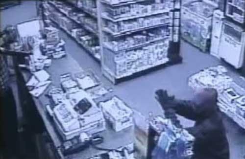 A bat-wielding man walked into a Shirley convenience