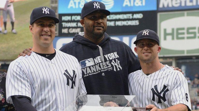 New York Yankees' Brett Gardner and CC Sabathia