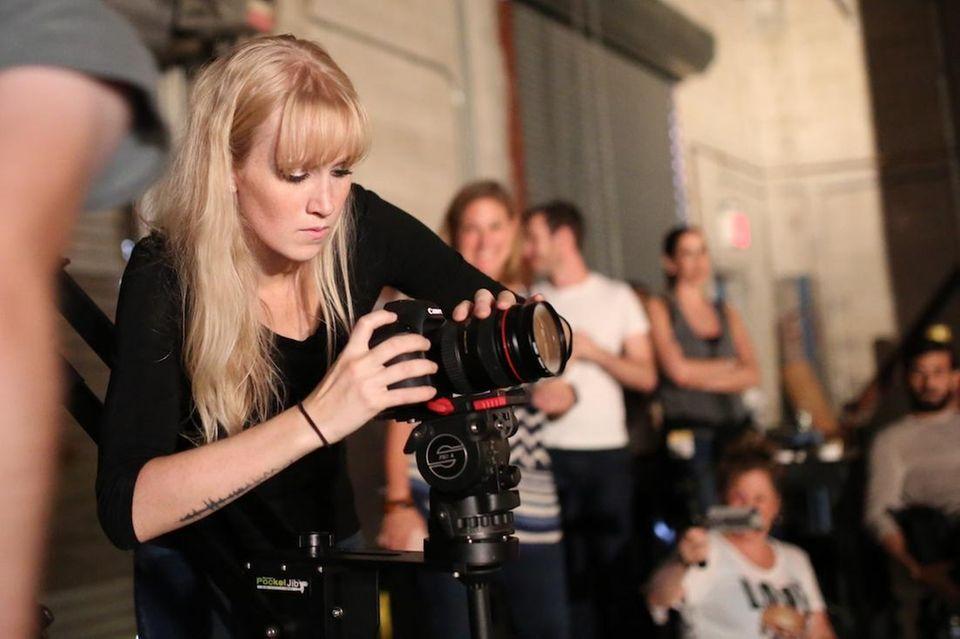 Video editor Raychel Brightman films at Newsday during