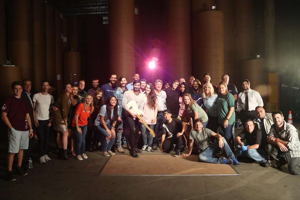 Band members, video cast and crew wrap the