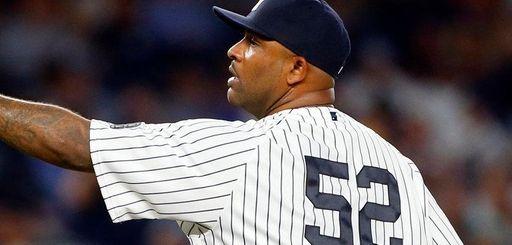 CC Sabathia of the New York Yankees reacts