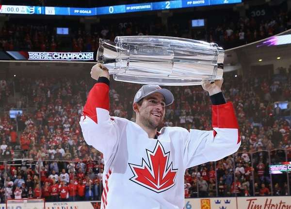 The Islanders' John Tavares carries the World Cup