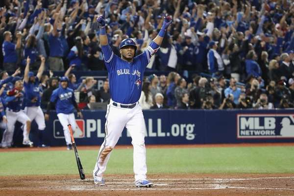 Edwin Encarnacion lingers at home plate on
