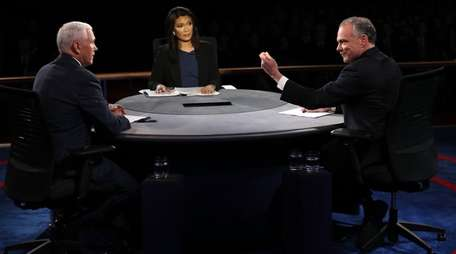 Vice-presidential candidates Mike Pence, left, and Tim Kaine