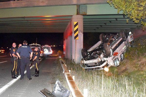 Suffolk County police respond to a crash scene