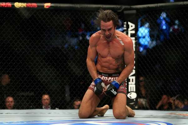 Josh Samman reacts after knocking out Eddie Gordon