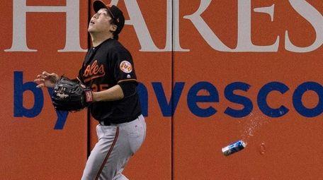 Baltimore Orioles' Hyun Soo Kim gets under a