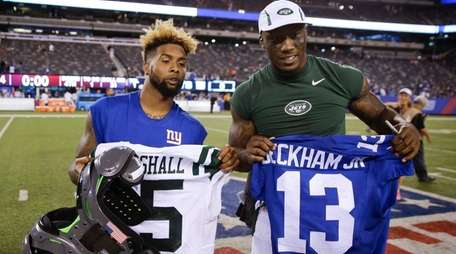 Giants wide receiver Odell Beckham, left, and Jets