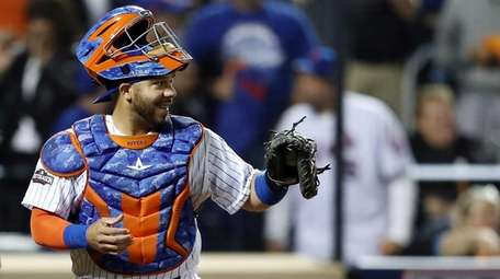 Rene Rivera of the New York Mets reacts