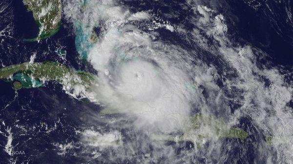 A satellite image shows Hurricane Matthew as it