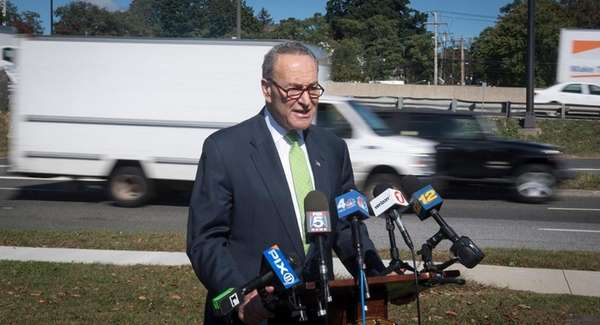 Sen. Chuck Schumer, at a news conference Thursday,
