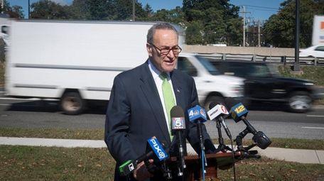 Sen. Chuck Schumer, at a news conference Thursday,
