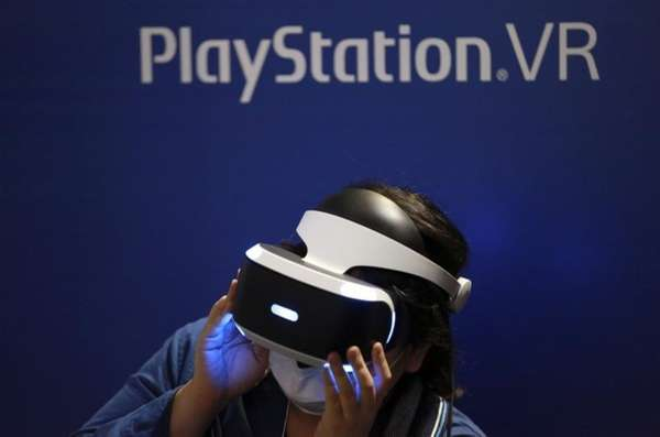A visitor tries out a Sony PlayStation VR