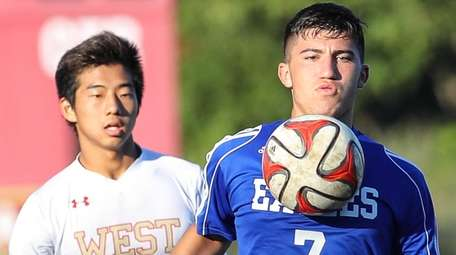 Jeremy Contreras of Hauppauge controls the ball against