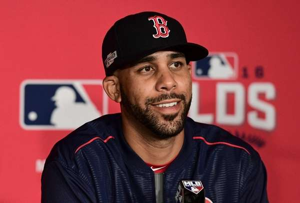 Boston Red Sox pitcher David Price smiles while