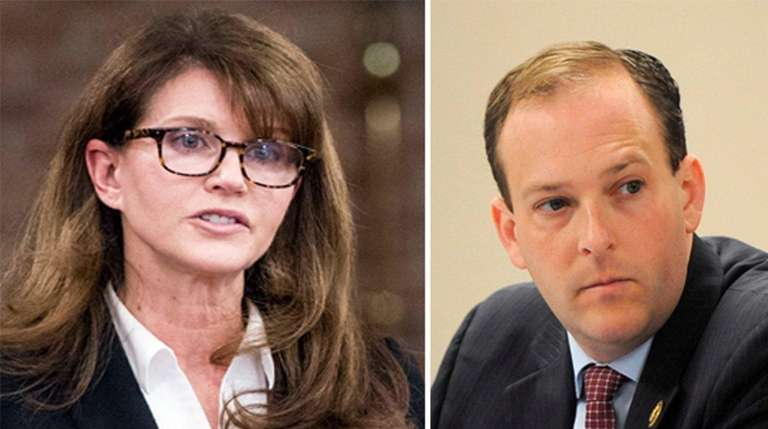 Democratic congressional challenger Anna Throne-Holst, left, sparred with
