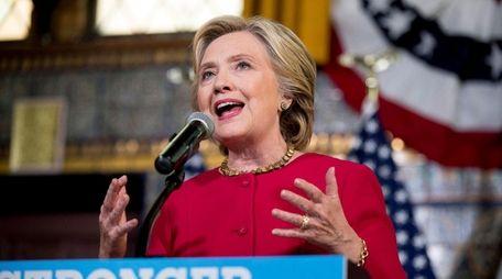 Democratic presidential candidate Hillary Clinton speaks in Harrisburg,