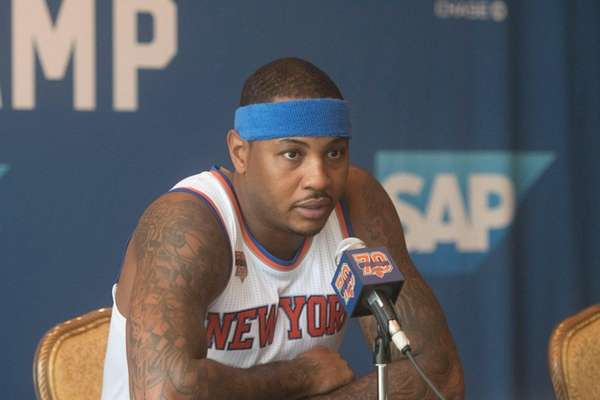 The New York Knicks' Carmelo Anthony speaks during