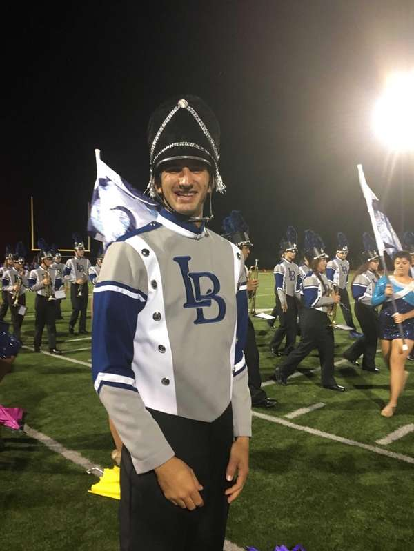 Long Beach High School marching band drum major