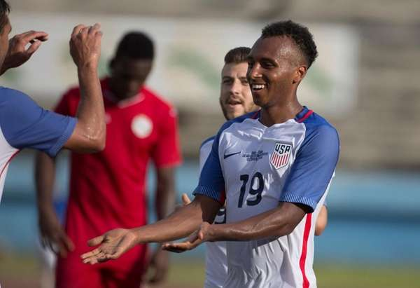 Julian Green, of the U.S., celebrates scoring the