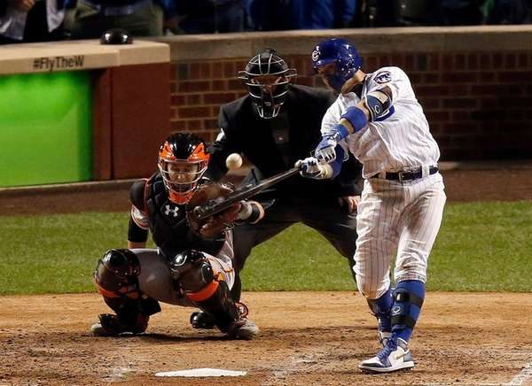 Chicago's Javier Baez gets a 93-mph fastball from