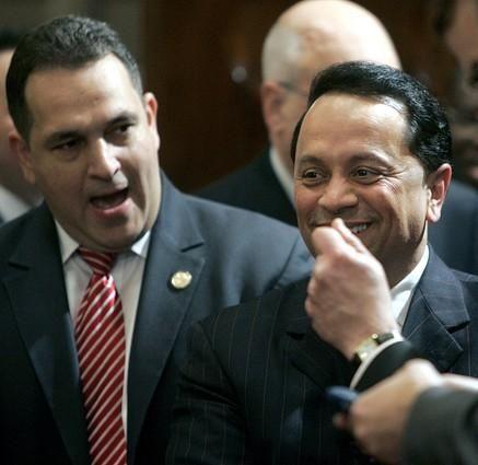 Sen. Hiram Monserrate (D- Queens), left, and Sen.