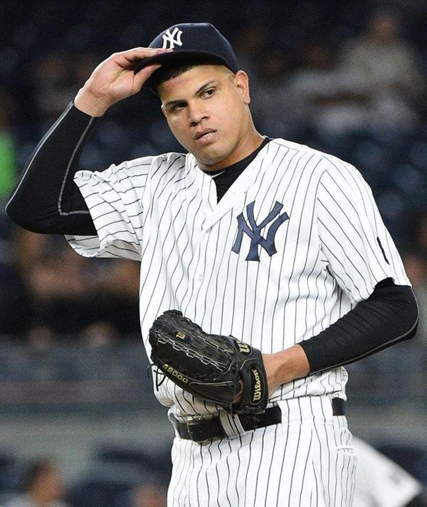 New York Yankees' relief pitcher Dellin Betances looks