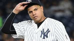 New York Yankees' relief pitcher Dellin Betances looks
