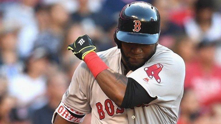 David Ortiz of the Boston Red Sox tosses