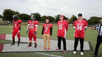Newfield game captains Isaiah Israel (4), Zachary Ferrari