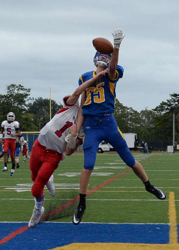 Bellport's James Morrell is called for pass interference