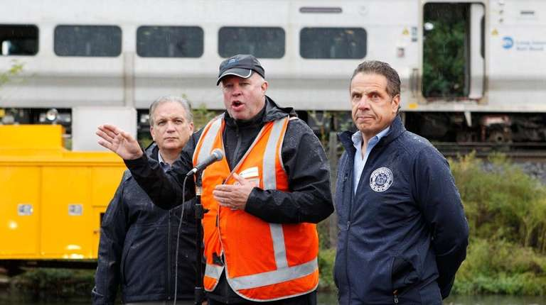 Nassau County Executive Edward Mangano, left, MTA Chairman