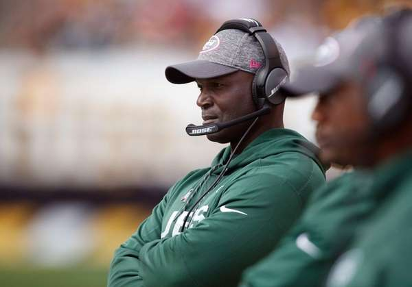Jets coach Todd Bowles looks on during the