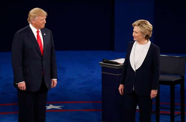 Donald Trump and Hillary Clinton faceoff during