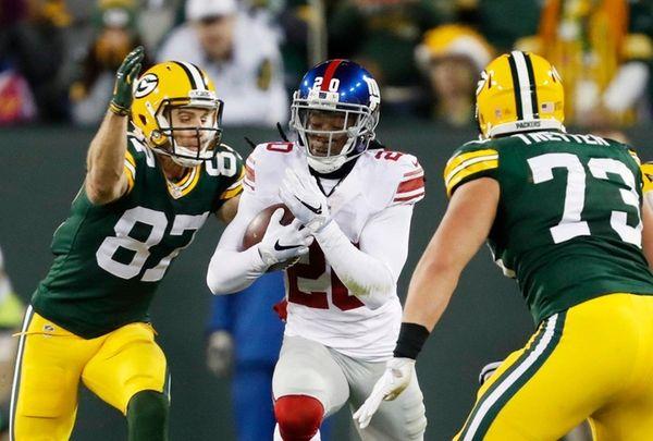 New York Giants' Janoris Jenkins runs back his