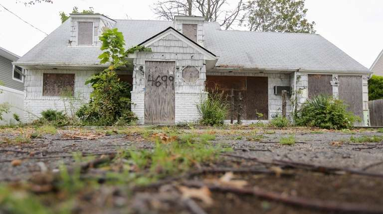 The zombie home in Massapequa is pictured Wednesday,