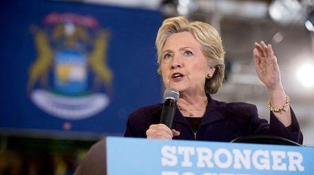 Hillary Clinton, at a rally at Wayne State