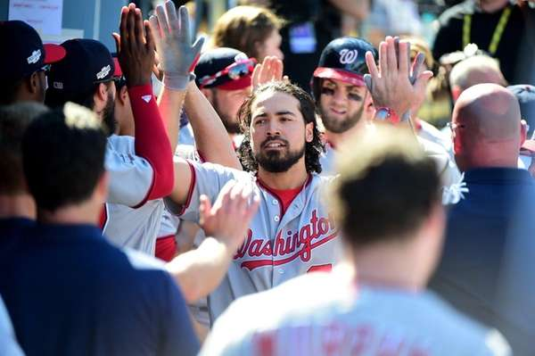 Anthony Rendon of the Washington Nationals celebrates in