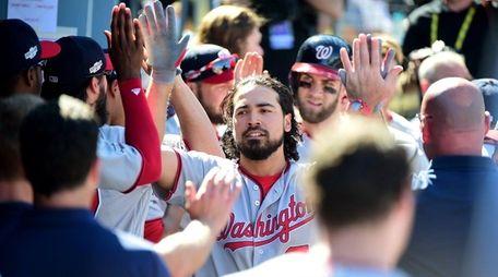 Anthony Rendon of the Washington Nationals celebrates in
