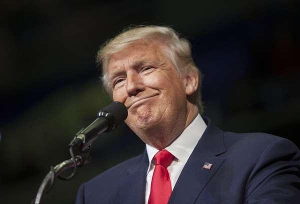 Republican presidential nominee Donald Trump holds a campaign