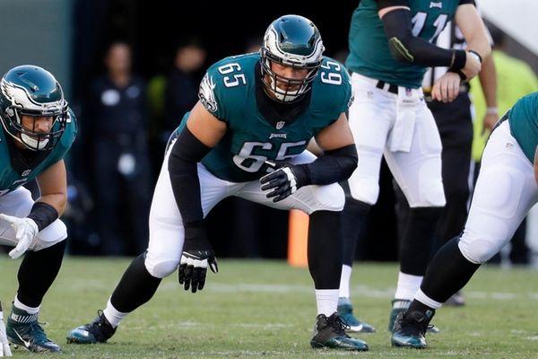 Philadelphia Eagles tackle Lane Johnson waits for a