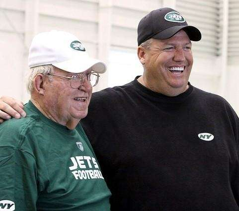 Buddy Ryan, left, and his son Rex Ryan,