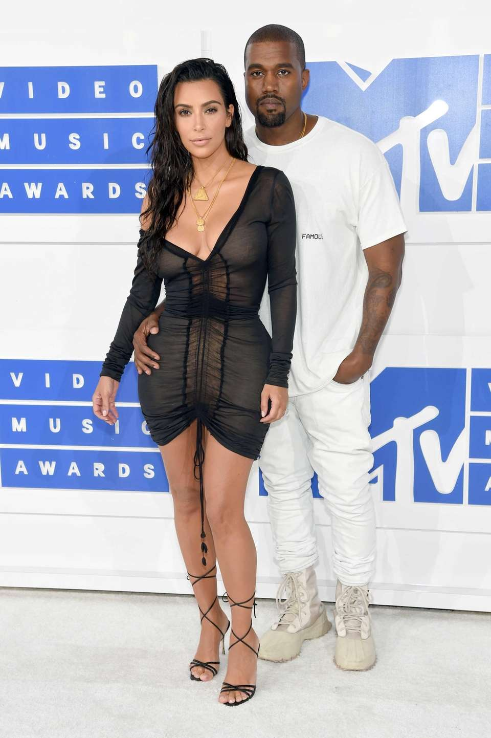 Kim Kardashian and Kanye West attend the 2016