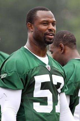 FILE - Jets linebacker Bart Scott waits on