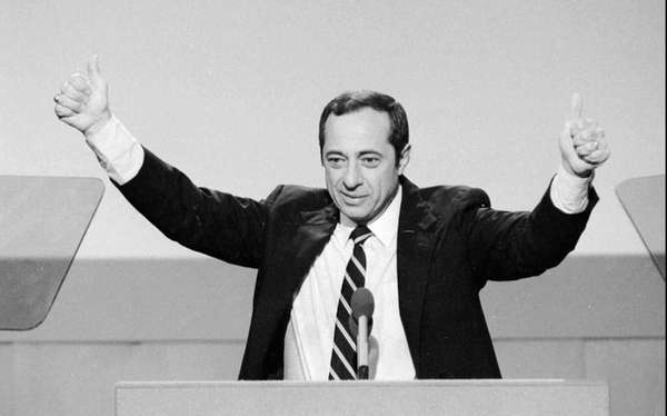 New York Gov. Mario Cuomo gives the thumbs-up