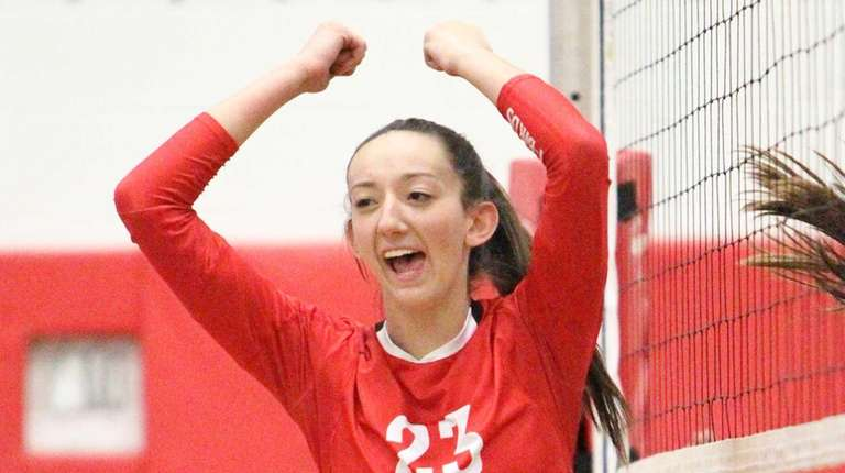 Connetquot's Cassandra Patsos (23) celebrates a point in
