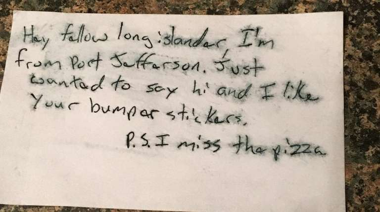 West Islip native Lisa Socha found this note
