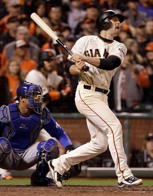 Conor Gillaspie of the Giants hits a two-run