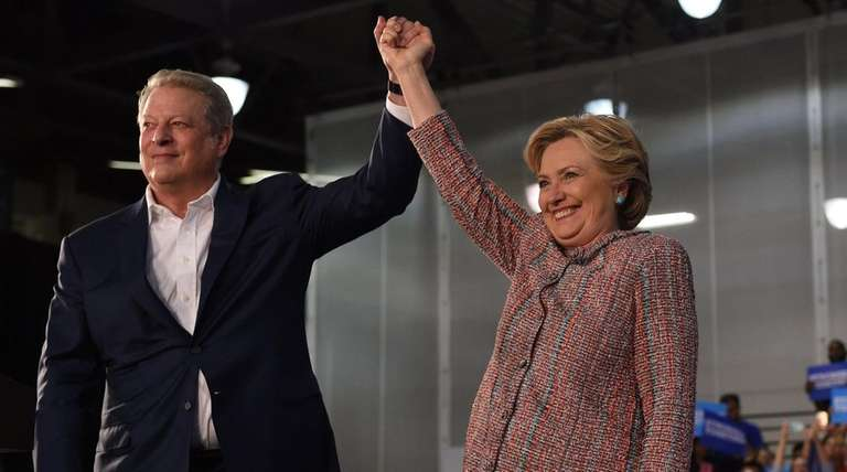 Democratic presidential nominee Hillary Clinton with former Vice