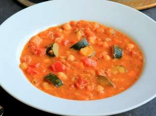Chickpeas, sweet potato, zucchini, tomato, carrots, celery and